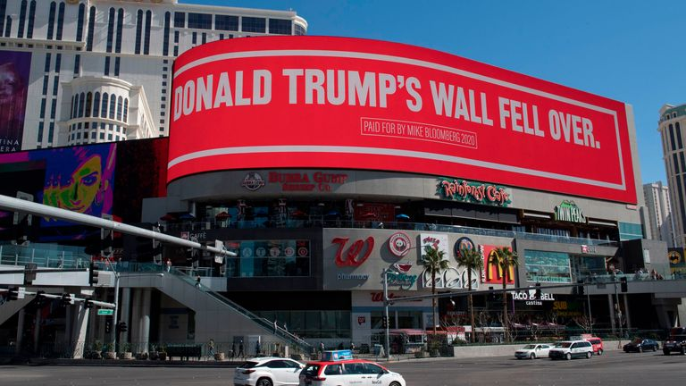 A billboard paid for by Democratic presidential hopeful Mike Bloomberg, that is attacking President Trump and is displayed on the iconic Las Vegas Strip, in Nevada, on February 21, 2020