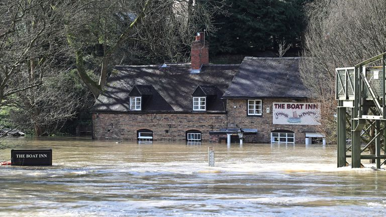 The Boat Inn in Jackfield near Ironbridge, Shropshire, floodwaters have reached the highest levels in memory as the River Severn remains high, with warnings of further flooding across the UK