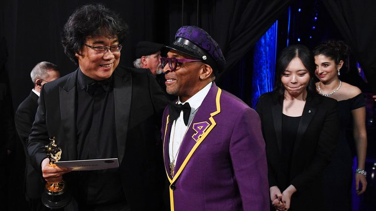 Director Spike Lee congratulates Bong Joon Ho on his win
