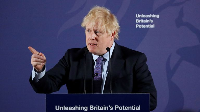 "Britain's Prime Minister Boris Johnson reacts as he delivers a speech at the Old Royal Naval College in Greenwich, south east London on February 3, 2020. - Britain on Monday said it wanted a ""thriving trade and economic relationship"" with the European Union, as it set out its position for future trade talks after it left the bloc. But Prime Minister Boris Johnson pledged: ""We will not engage in some cut-throat race to the bottom. We are not leaving the EU to undermine European standards"