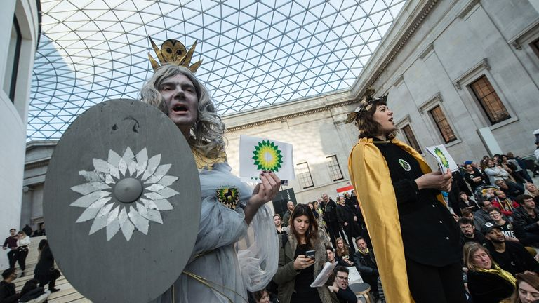 Hundreds of protestors gather in the main hall to listen to speeches and tear up BP logos in the British Museum on February 8, 2020 in London, England.
