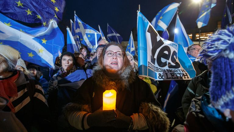 Missing EU Already Hold Anti-Brexit Rally outside the Scottish Parliament at Holyrood on January 31, 2020 in Edinburgh, Scotland. (Photo by Robert Perry/Getty Images)