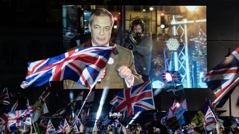 Brexit Party leader Nigel Farage addresses Pro Brexit supporters as the United Kingdom prepares to exit the EU during the Brexit Day Celebration Party hosted by Leave Means Leave at Parliament Square on January 31, 2020 in London, England. At 11.00pm on Friday 31st January the UK and Northern Ireland exits the European Union, 188 weeks after the referendum on June 23rd, 2016. (Photo by Leon Neal/Getty Images)