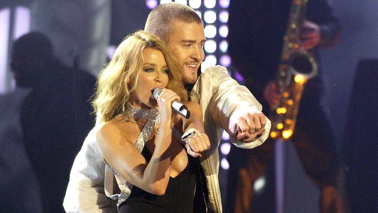 Kylie Minogue and justin Timberlake in 2003. Pic: Richard Young/Shutterstock