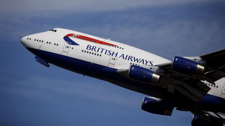 A British Airways aeroplane takes off from the runway at Heathrow Airport's Terminal 5 in west London, on September 13, 2019