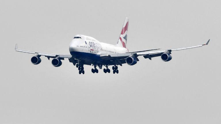 A British Airways Boeing 747 aircraft prepares to land at London Heathrow Airport. File pic