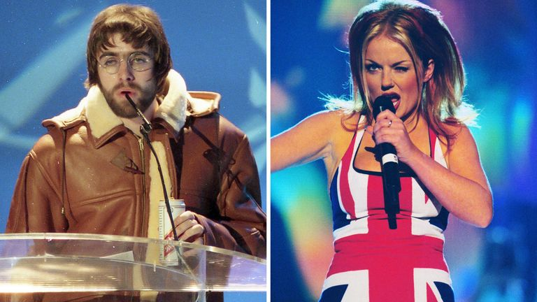 Liam Gallagher at the Brits in 1996/ Geri Halliwell at the Brits in 1997