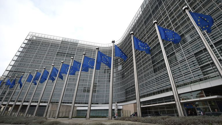 European flags flutter in front of the European Commissions Berlaymont building in Brussels