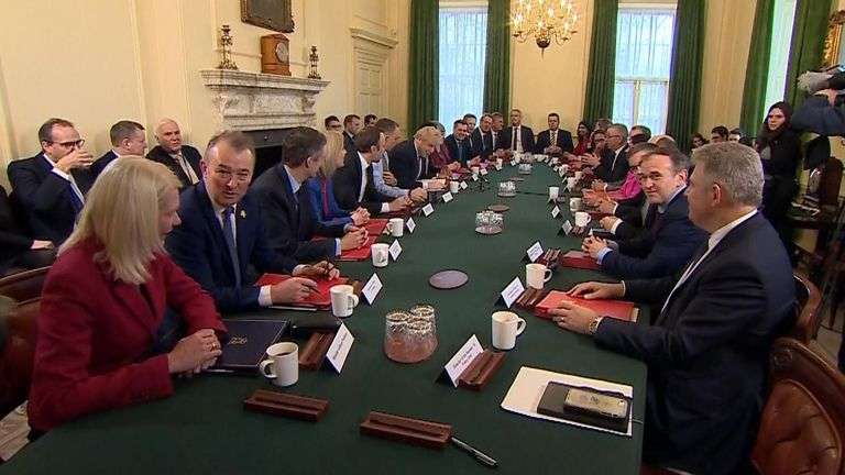 Boris Johnson holds the first meeting of his updated cabinet
