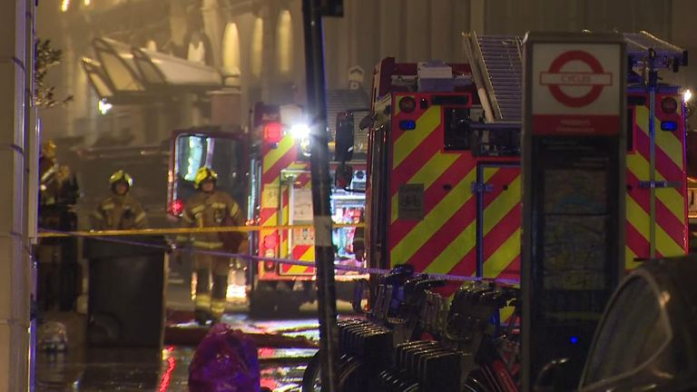 About 150 firefighters tackled the blaze