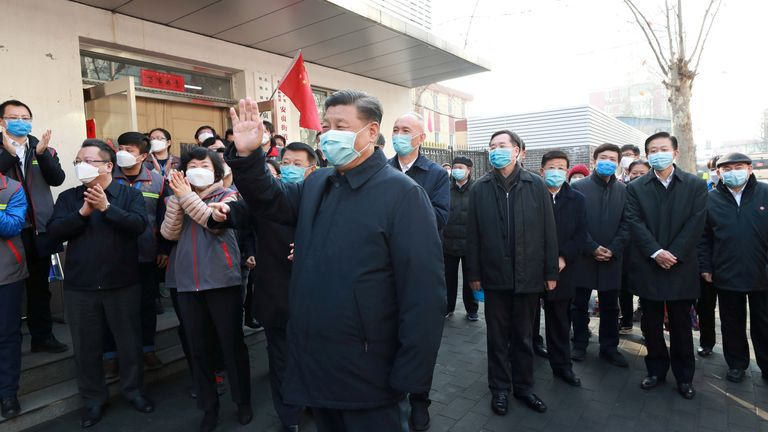 Chinese President Xi Jinping visited a health centre in Beijing to really public morale as the virus  spread showed little signs of slowing