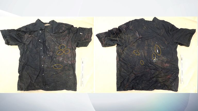 This was the top worn by Christian Thornton when he was attacked