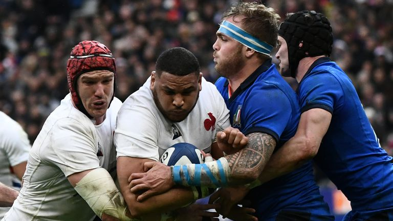 Italy (in blue playing France) are facing calls to postpone their Six Nations game in Dublin