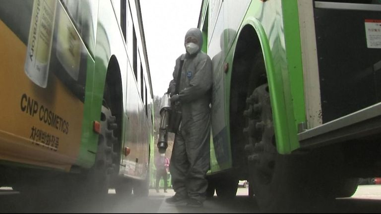 Hundreds of buses in South Korean capital Seoul were fumigated on Wednesday (February 26), amid rising coronavirus cases across the country.