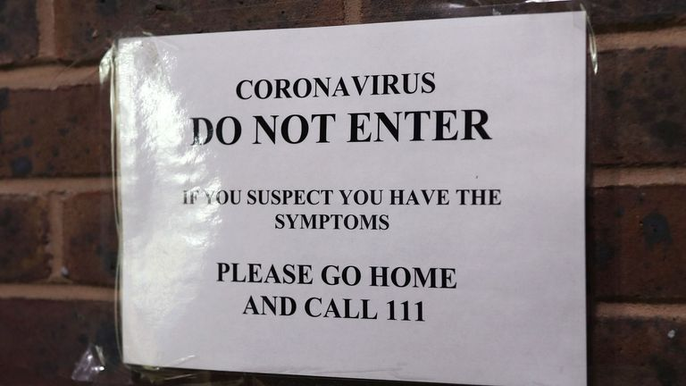 The sign posted outside Haslemere Health Centre on Friday