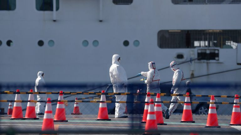 Workers in protective gear are seen near the Diamond Princess in Yokohama
