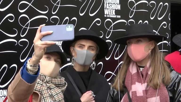 London Fashion Week attendees matched their face masks to their outfits