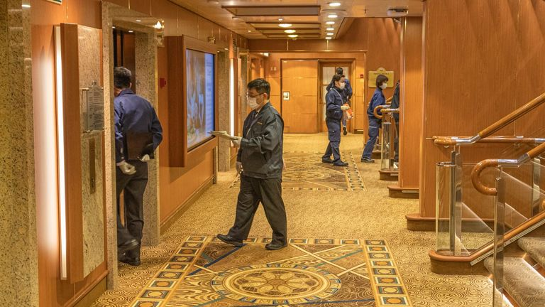 Quarantine officials on the Diamond Princess Pic: David Abel