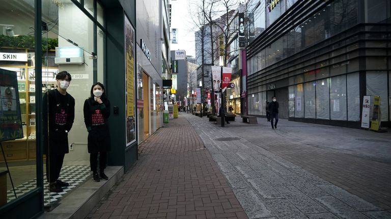 Daegu's central shopping street was empty as a health emergency was declared