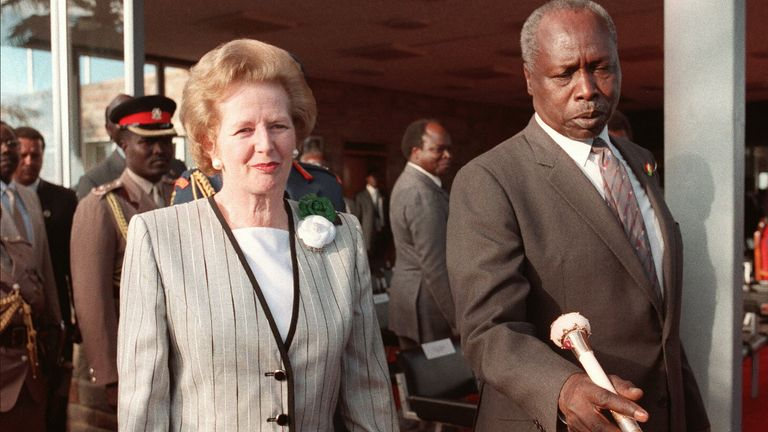 Daniel Arap Moi shown, with his famous ivory cane, seen with British prime minister Margaret Thatcher in 1988