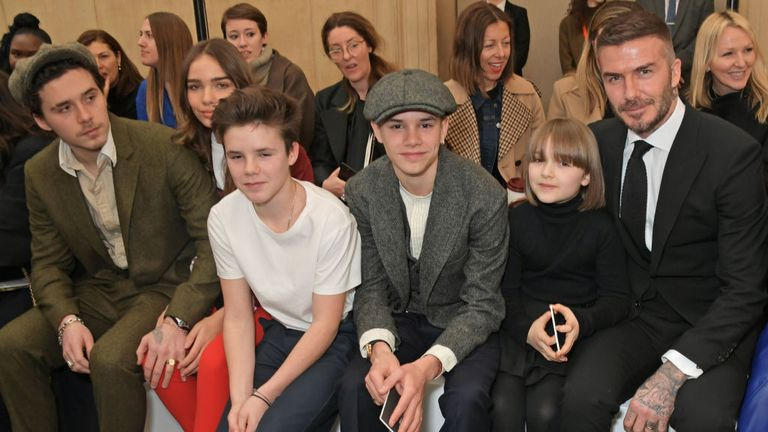 Brooklyn, girlfriend Hana Cross, Cruz, Romeo, Harper and David Beckham