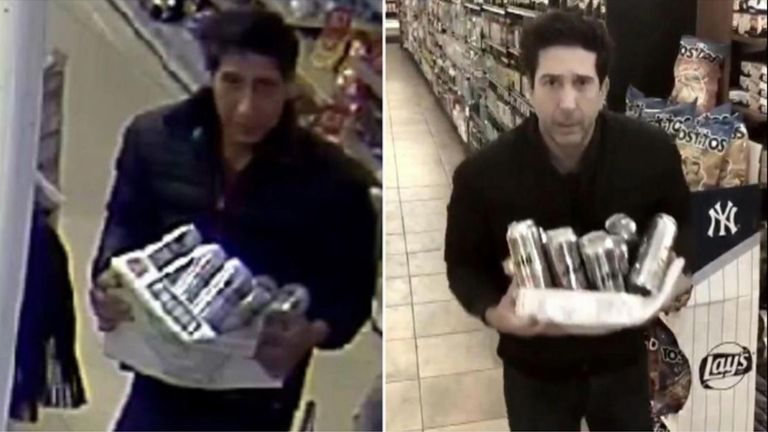Splitscreen of David Scwimmer and his thief lookalike.