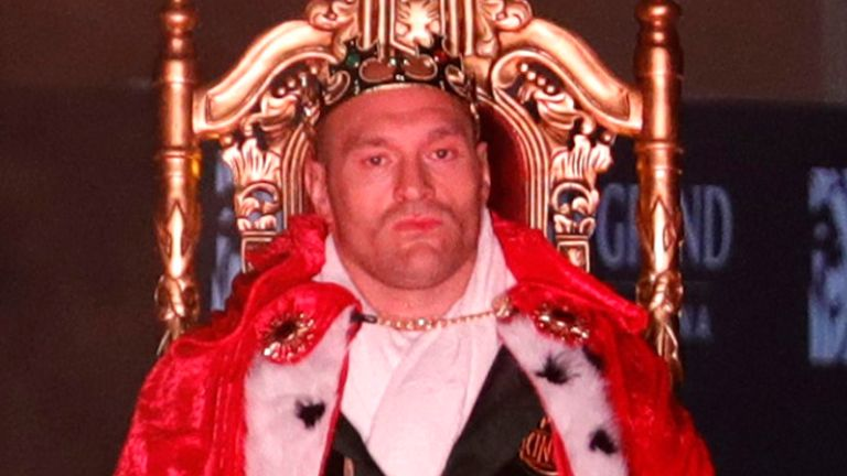 Tyson Fury enters the ring in the Grand Garden Arena in Las Vegas