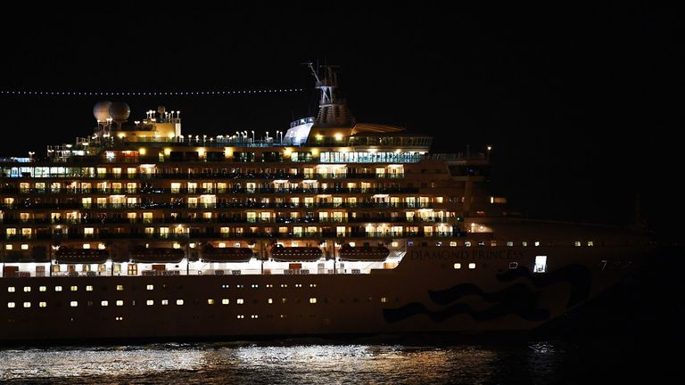 About 3,600 people are quarantined aboard the Diamond Princess off the coast of Japan