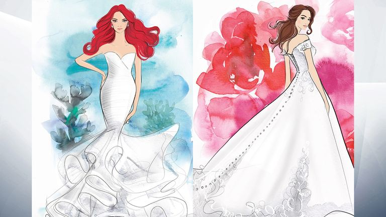 Allure Bridals announced today its first Disney Fairy Tale Weddings Collection, teaming up with Disney. The elegant collection includes 16 total styles in a variety of silhouettes and fabrications that capture the style and spirit of Disney Princess characters such as Ariel, Aurora, Belle, Jasmine, Cinderella, Pocahontas, Rapunzel, Tiana, and Snow White. Pic: Allure Bridals