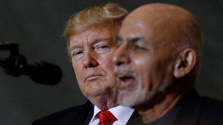 US President Donald Trump and Afghan President Ashraf Ghani at Bagram Air Base in Afghanistan in November