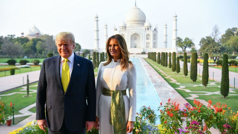 US President Donald Trump and First Lady Melania Trump pose as they visit the Taj Mahal in Agra on February 24, 2020. (Photo by Mandel NGAN / AFP) (Photo by MANDEL NGAN/AFP via Getty Images)