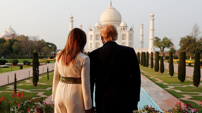 U.S. President Donald Trump and first lady Melania Trump tour the historic Taj Mahal, in Agra, India, February 24, 2020. REUTERS/Al Drago DOWNLOAD PICTURE Date: 24/02/2020 12:18 Dimensions: 2924 x 1886 Size: 1.6MB Edit Status: new Category: A Topic Codes: POL ASIA DIP Fixture Identifier: RC207F99EKAW Byline: ALEXANDER DRAGO City: AGRA Country Name: India Country Code: IND OTR: GDN324 Source: REUTERS Caption Writer: zuz Source News Feeds: Reuters News Picture Service - RNPS, Reuters Pictures Arch