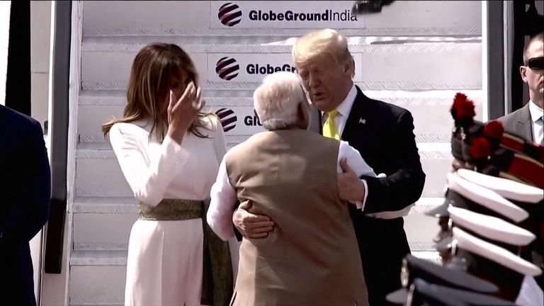 Trump lands in India