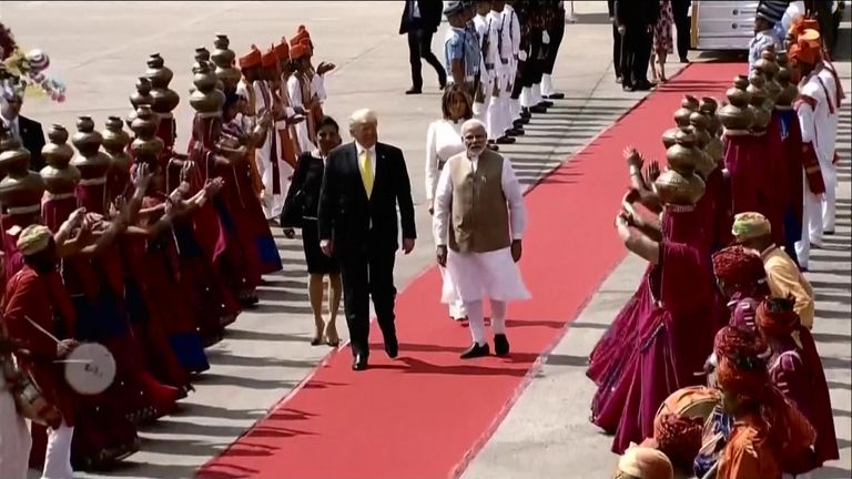 Trump receives the red carpet treatment in India