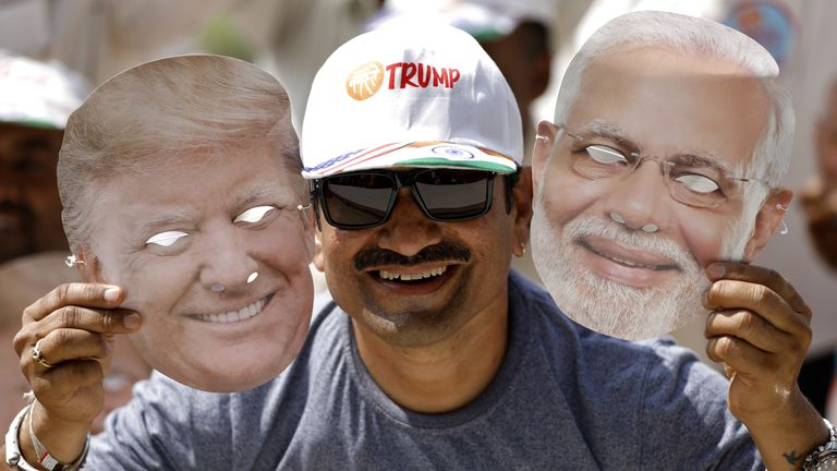Thousands turned out to greet Donald Trump in Narendra Modi's hometown