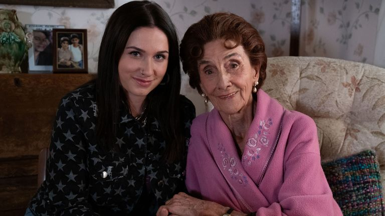 Dot Branning (JUNE BROWN), Dotty Cotton (MILLY ZERO). Pic: BBC