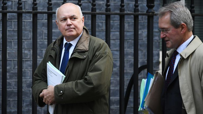 LONDON, ENGLAND - OCTOBER 22: (L-R) European Research Group members Iain Duncan Smith and Owen Paterson arrive in Downing Street on October 22, 2019 in London, England. Prime Minister Boris Johnson published his Withdrawal Agreement Bill last night and will today attempt to keep to his Brexit schedule as he aims to push a series of votes through Parliament. (Photo by Leon Neal/Getty Images)