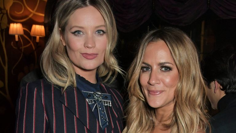 Laura Whitmore and Caroline Flack at the Vanity Fair EE Rising Star Party on January 31, 2019 in London.