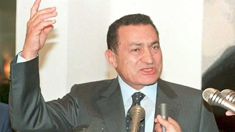 Mr Mubarak speaks to reporters at Cairo airport after surviving an assassination attempt against him in Ethiopia