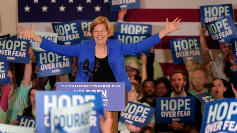 Democratic presidential candidate Senator Elizabeth Warren addresses supporters at her rally in Des Moines, Iowa, U.S., February 3, 2020