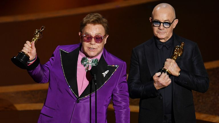 Sir Elton and Bernie Taupin were chuffed to bits with their first ever Oscar