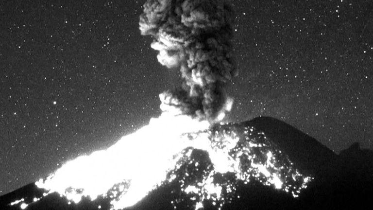 Volcano eruption in Mexico