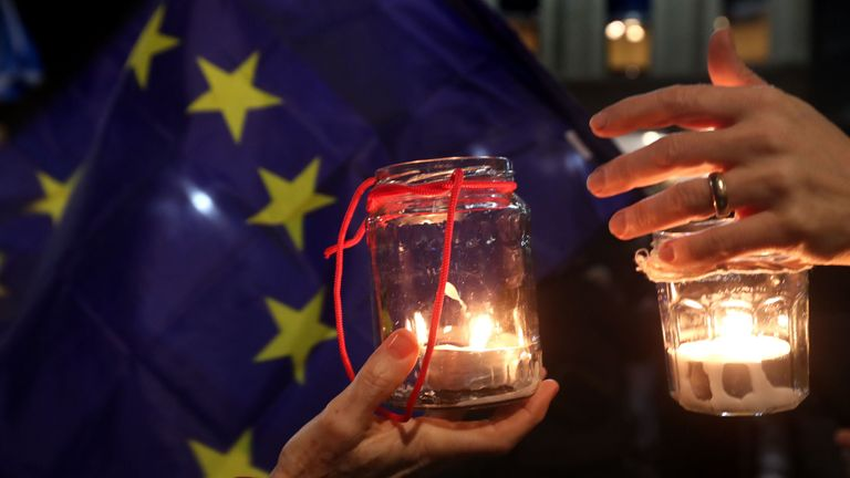 A candlelight vigil was held by pro-EU supporters in Glasgow