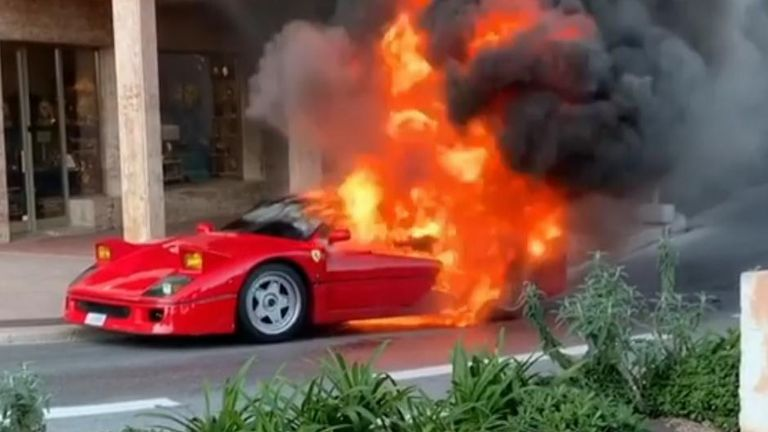 Ferrari on fire in Monaco street,