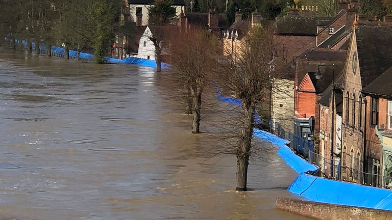 An emergency evacuation is taking place in Ironbridge. Pic: @ClrrShaunDavies