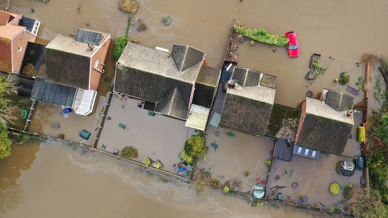 defaultDONCASTER, ENGLAND - NOVEMBER 12: Flood water covers the roads and part of local houses in the Fishlake area on November 12, 2019 in Doncaster, England. More heavy rain is expected in parts of the Midlands and Yorkshire as the Environment Agency issues 30 flood warnings and five severe warnings on the River Don in South Yorkshire. The prime minister is chairing a meeting of the government's emergency committee later today.  (Photo by Christopher Furlong/Getty Images)