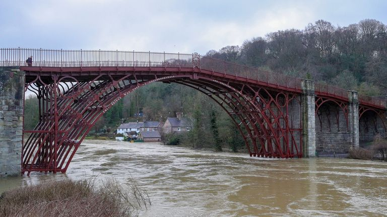 Temporary flood barriers have been overwhelmed by water in Ironbridge