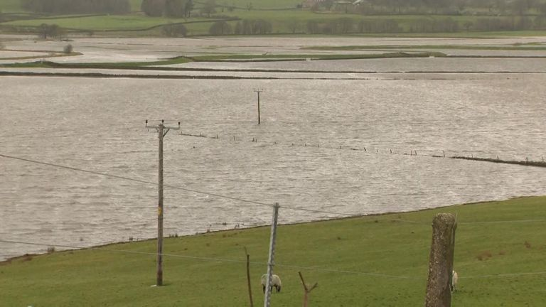Floods affecting the Ribble Valley in Lancashire