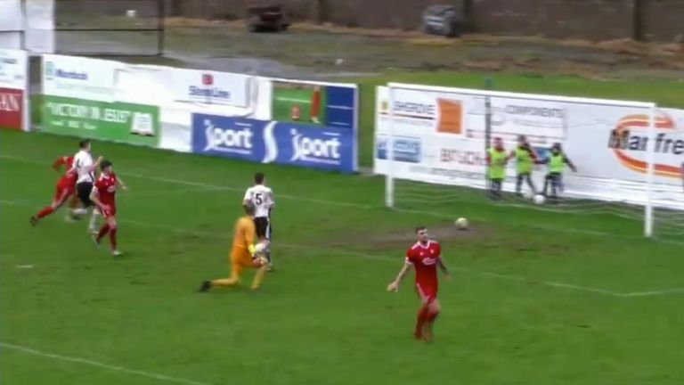 Portadown striker Adam Salley gets caught short in the Irish Championship leaders' win over Queen's University on Saturday.