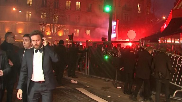 French Police on Friday (February 28) pushed back protesters who pulled down a safety barrier outside the Paris theatre hosting the 2020 Cesar Awards, where a movie by director Roman Polanski, who faces rape accusations, is up for a dozen nominations.